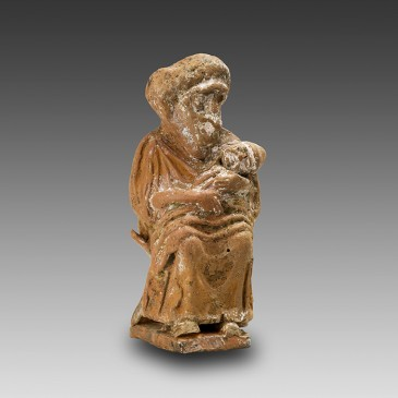Greek Terracotta Statuette of a Grotesque Nurse and her Baby