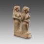 Levantine terracotta Group of two feminine statuettes-11495
